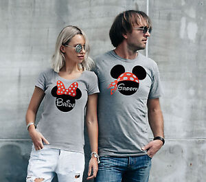 Disney Mickey Mouse inspired His and Hers matching Bride and Groom sport grey T-shirts. 8HuXCK