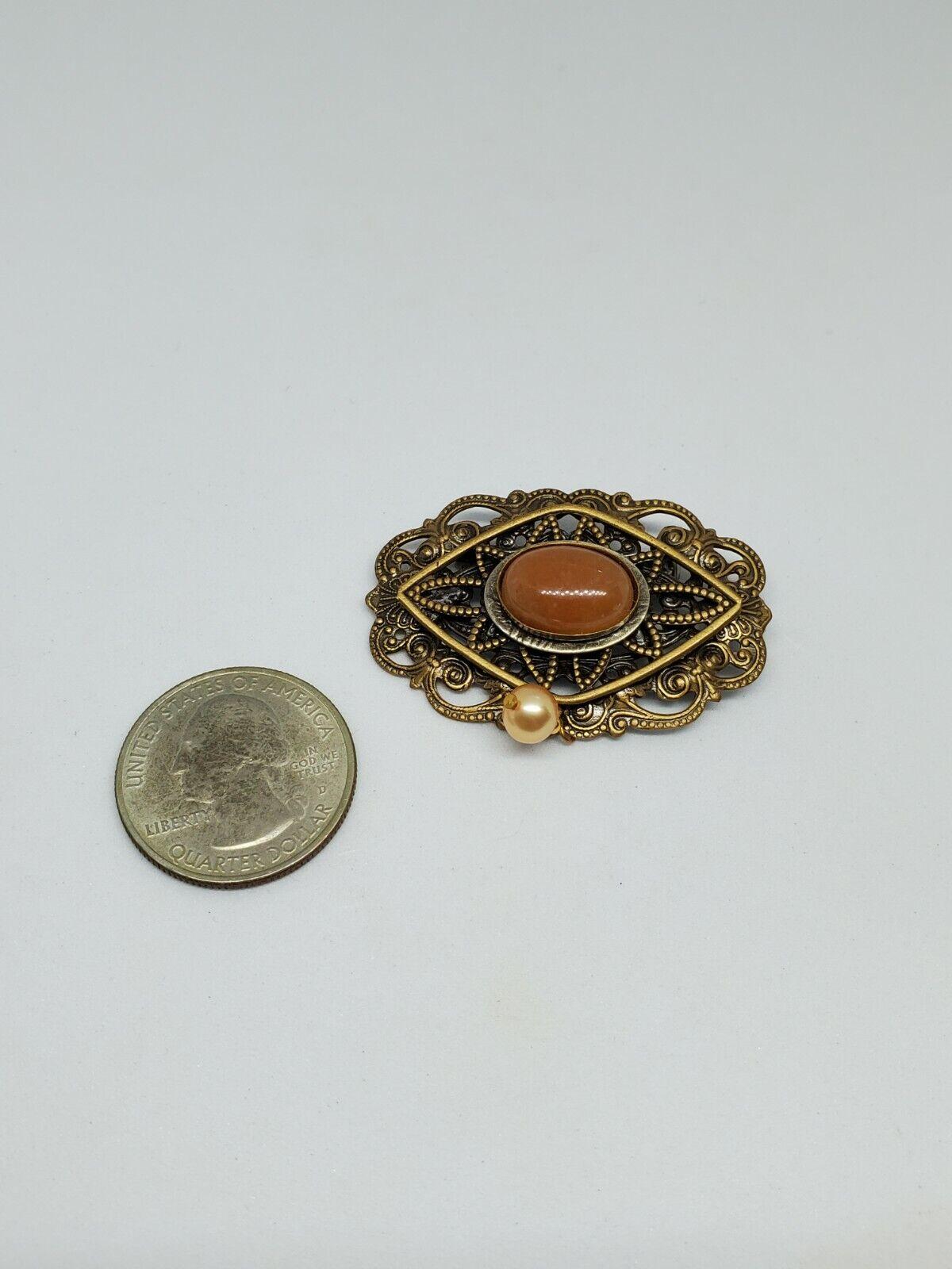 Vintage Orange Stone Brass Filigree Ornate Pearl … - image 4