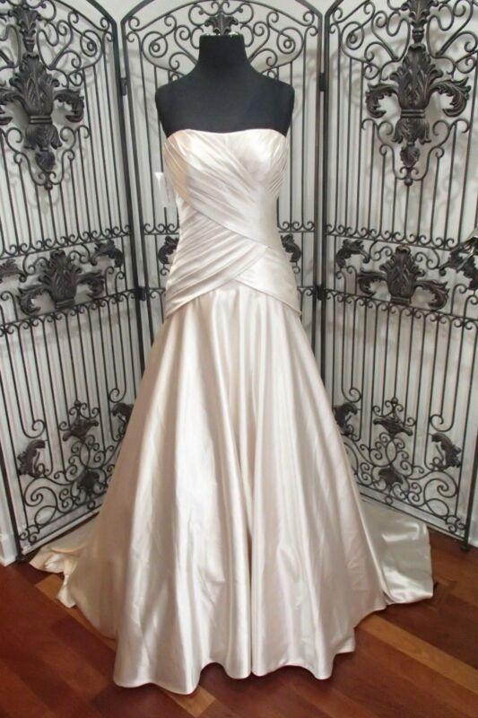 54 Lillian Westen 6284 Elfenbein Satin Alt Hollywood Gr. Uk 8 Brautkleid Kleid