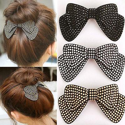 Double Layer Ribbon Bow Knot Rhinestone Crystal Hair Clip Pin Fashion Hot