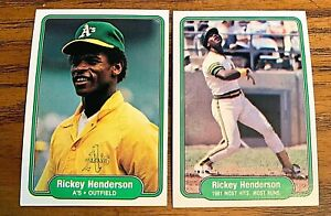 Rickey-Henderson-1982-Fleer-92-and-643-A-039-s