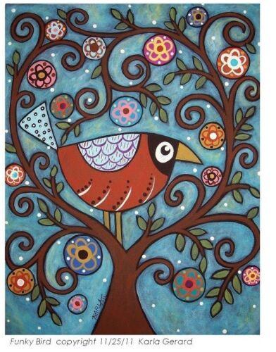 RUG HOOKING CRAFT PAPER PATTERN Funky Bird FOLK ART PRIMITIVE Karla Gerard