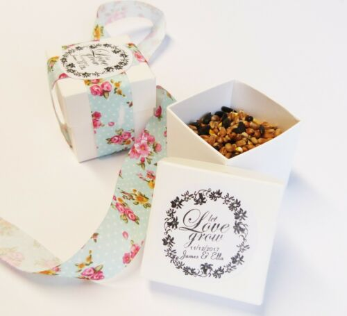 2INCH BOX WHITE WEDDING SEEDS BOX PERSONALISED STICKERS  LET LOVE GROW