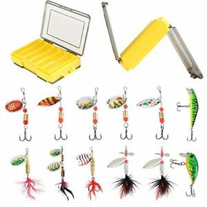 12PCS Fishing Lures Spinner Baits for Bass Walleye Trout Salmon Hard Metal Sp...