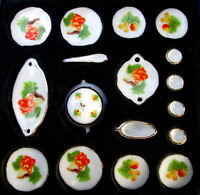 18 piece dinner set fruit design Dolls house Miniature 1/12th scale