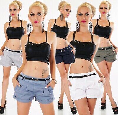 Frugale Italy Breve Hot Pants Pantaloni Shorts Bermuda Capri Chino Cintura Pieghe 36-40-mostra Il Titolo Originale