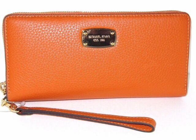 b98e760893ec Michael Kors Jet Set Continental Zip Around Travel Wallet Tangerine Orange   168