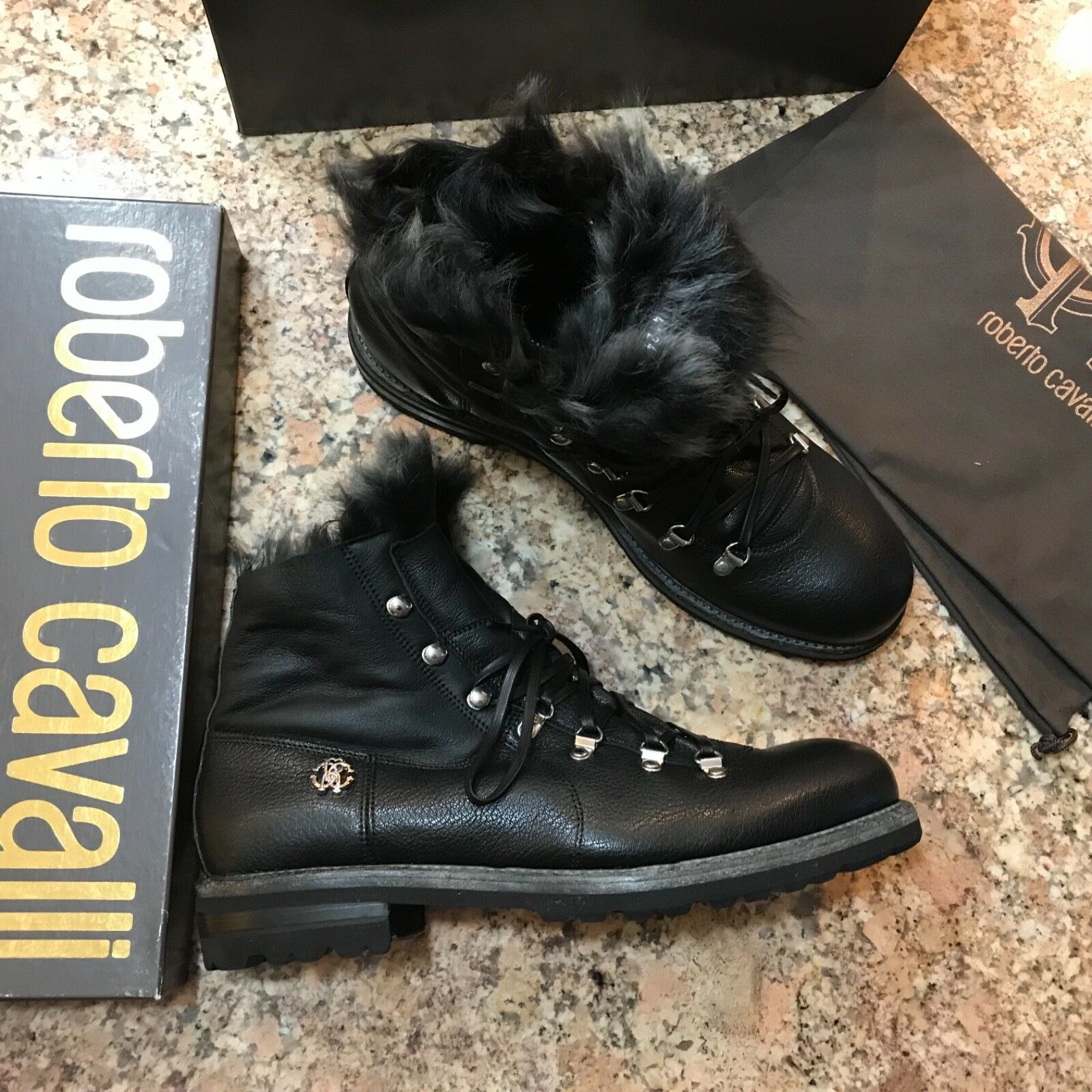 100% AUTHENTIC ROBERTO CAVALLI FUR TRIM COMBAT BOOTS, BLACK, SIZE10.5,NEW, ITALY