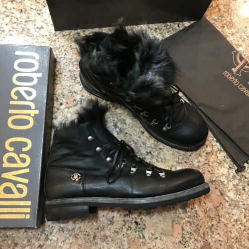 Discount 100% AUTHENTIC ROBERTO CAVALLI FUR TRIM COMBAT BOOTS, BLACK, SIZE 12, NEW, ITALY free shipping