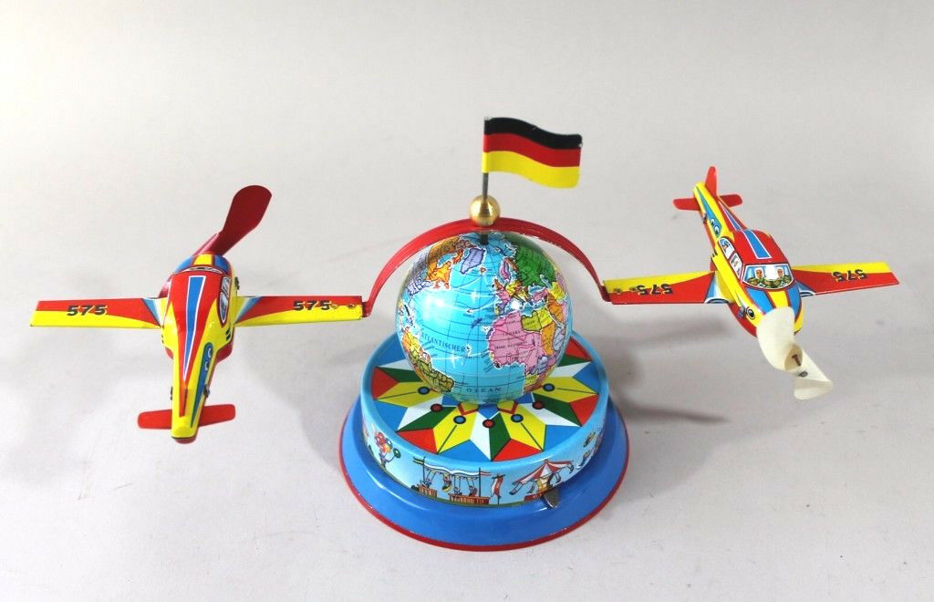 Flight um Die Welt Flyer Aircraft Tin Toy Carousel - Made in Germany 575