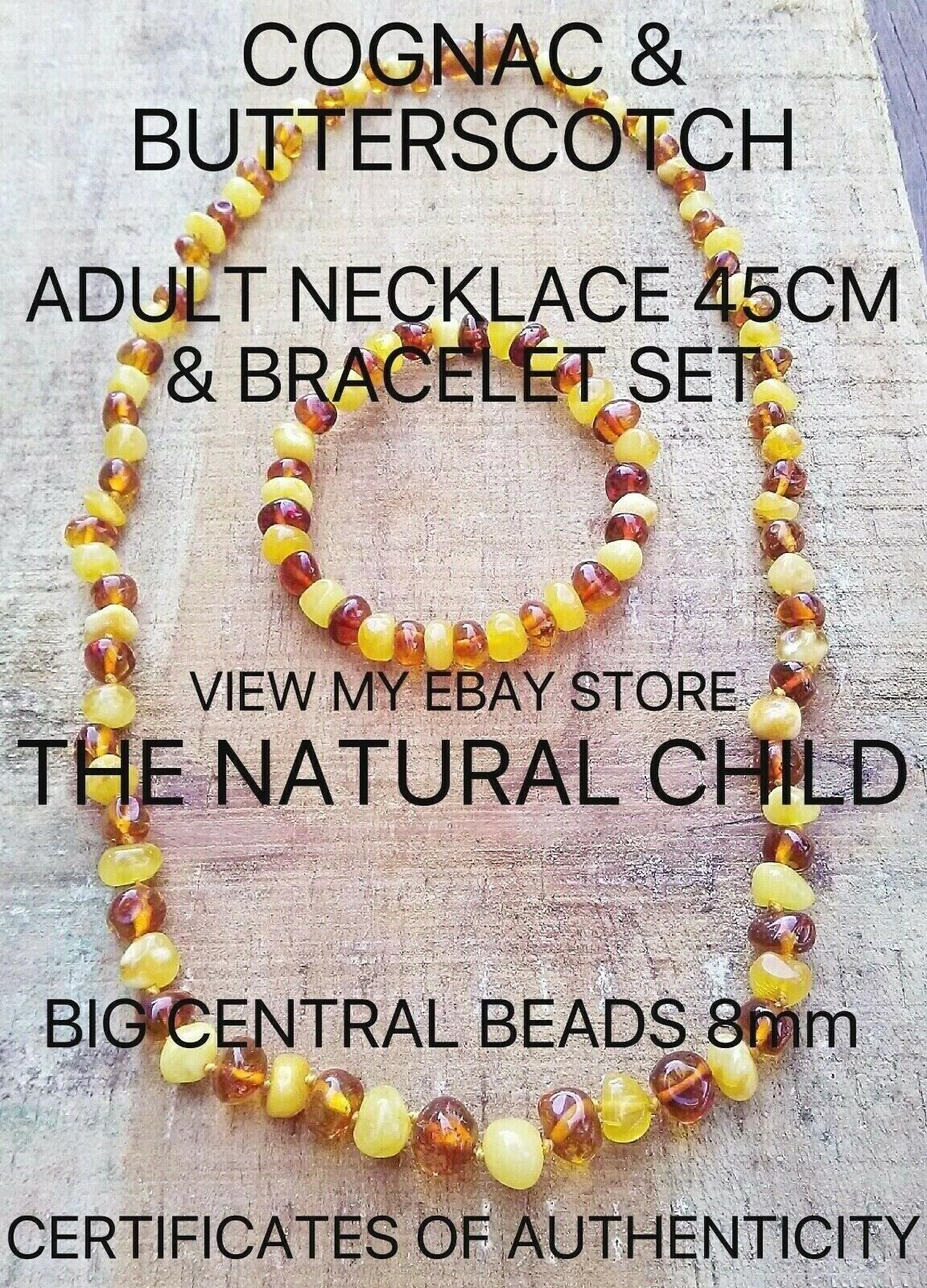 COGNAC & BUTTERSCOTCH BALTIC AMBER ADULT SET BIG BEADS Jewellery Beads FREE POST