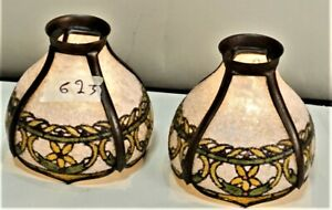 Antique-Arts-amp-Crafts-John-Morgan-Slag-Glass-Reverse-Painted-Shades-1-Pair