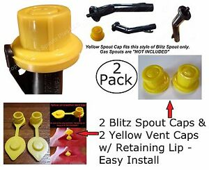 Combo Pack 2 BLITZ Yellow Spout Caps 2 Vent Caps FIX YOUR GAS CAN 4pcs total NEW
