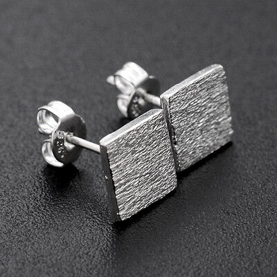 Hot Cute Tiny Women 925 Sterling Silver Square Frosted Ear Stud Earrings Gift