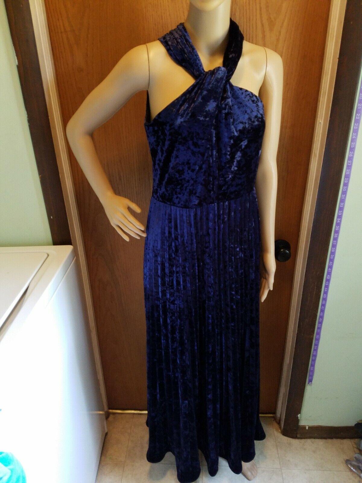 Kobi Halperin  Mujer Azul Marino Vestido De Terciopelo machacado Talla 10 Nuevo Nuevo con etiquetas sin mangas  diseño simple y generoso