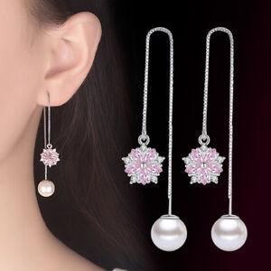 925-Silver-Tassel-Earrings-Pink-Oval-Crystal-Flower-Pearl-Style-Women-Jewelry