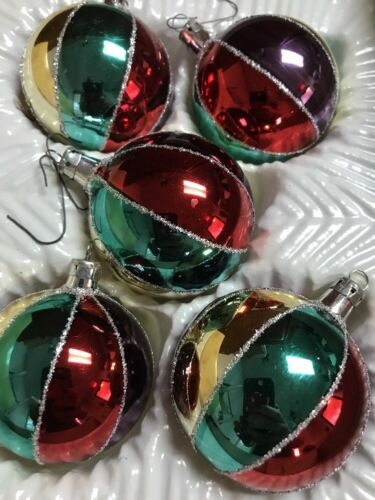 Lot of 5 Glitter Christmas Ornaments