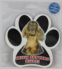 "Irish Setters Rule! 5"" Waterproof Dog Paw Print Pawprint Magnet"