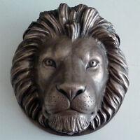 Lion Head Wall Plaque Sculpture in Bronze Resin