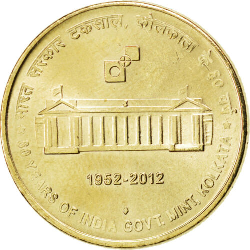 #86988 India, 5 Rupees, 2012, KM #New, MS63, NickelBronze, 5.87