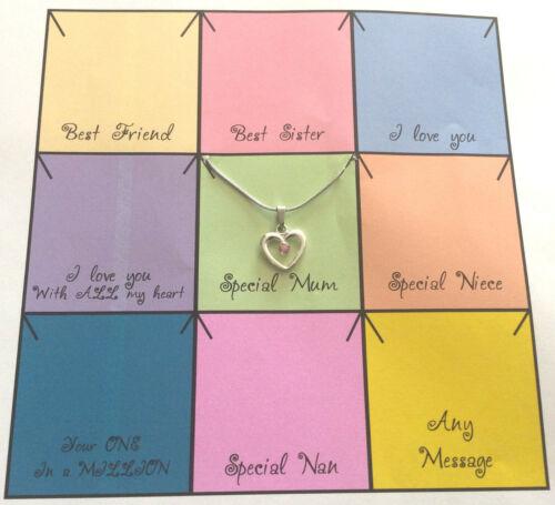 Mensaje personalizado cualquier en la tarjeta de color Rosa Corazón Collar Para Niñas O Adulto