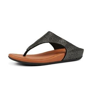 0d810267e Image is loading NEW-Fitflop-Banda-Glitz-Toe-Thong-Sandals-Black-