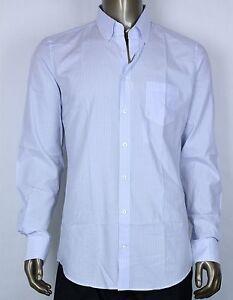 ac163785 $395 New Gucci Men's Classic White w/light Blue Pin Striped Shirt ...