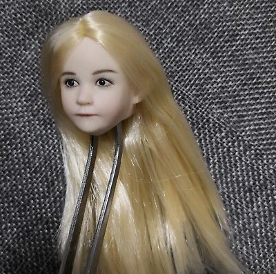 1//6 Beauty Long Blonde Hair Little Girl Head Carving  Fit 12/'/' Pale Female Doll