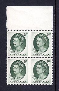 1964-MUH-5d-DEEP-GREEN-Queen-Elizabeth-II-BLOCK-of-4-IMPERFORATE
