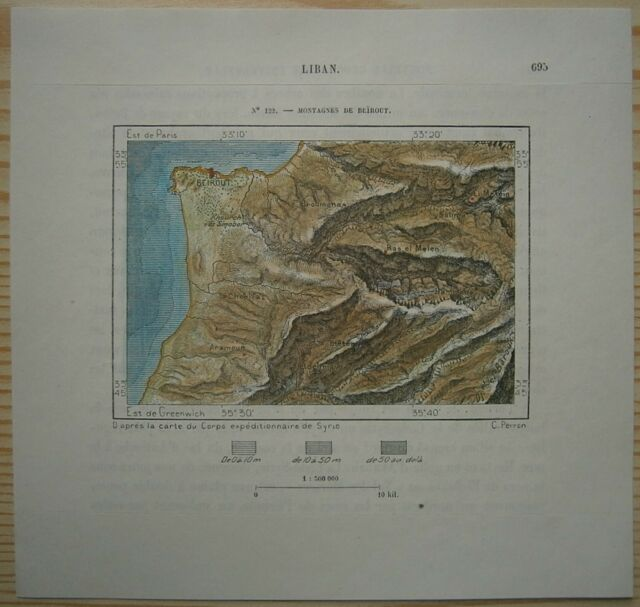 1884 Perron map BEIRUT WITH MOUNTAINS, LEBANON (#122)