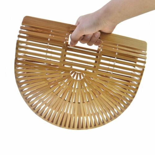 Bamboo Weaving Bag Handmade Beach Portable Half Moon Women summer Handbag US