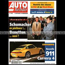AUTO HEBDO N°948 PORSCHE 911 CARRERA 4 TYPE 993 SCHUMACHER FRANCOIS DELECOUR '94