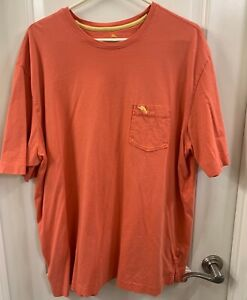 Tommy Bahama Relax Mens T-Shirt Solid Orange Sz Large XXL Marlin Logo Pocket