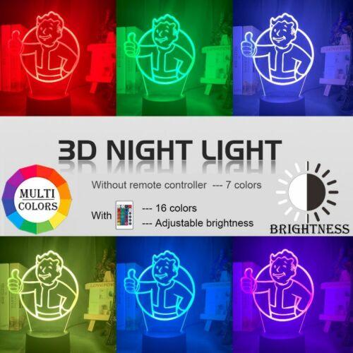Acrylic Led Night Light Game Fallout Shelter Logo 3D Lamp Bedroom Decor Gift