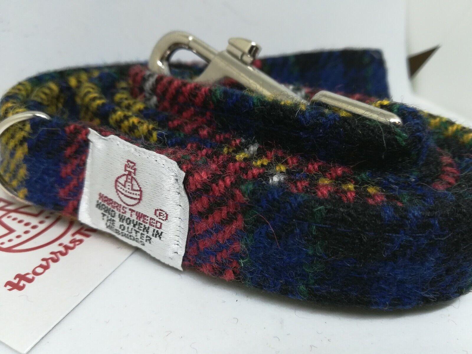rot Gelb Blau Check Check Check Harris Tweed dog collar 85b0ac