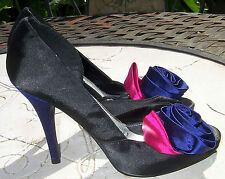 RED HERRING Black Blue Pink Peep Toe Satin Look High Heel Party Shoes Size 3