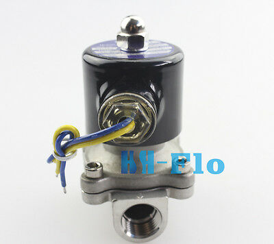 "HSH-Flo 1/2 To 1"" 12V/24V/110V NPT Stainless Steel NC Electric Solenoid Valve"