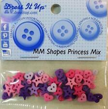 MM SHAPES PRINCESS MIX HEARTS STARS BUTTONS FOR CLOTHING CRAFTS DRESS IT UP