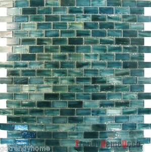 Sample Blue Recycle Glass Mosaic Tile Backsplash Kitchen