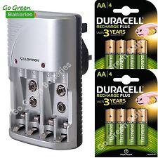 Lloytron Mains Battery Charger + 8 x Duracell AA 1300 mAh Rechargeable Batteries