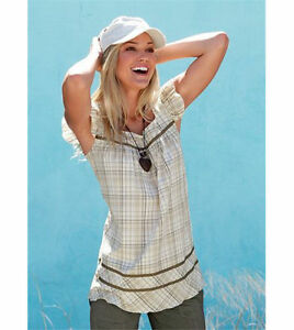 trendy-FLASHLIGHTS-Bluse-Blusentop-Top-NEU-beige-kariert