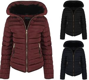 Womens Quilted Padded Navy Black Wine With Zip Hood Fall Winter