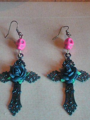 Large Gothic pink Sugar Skull Black Rose Cross Day of the Dead Earrings