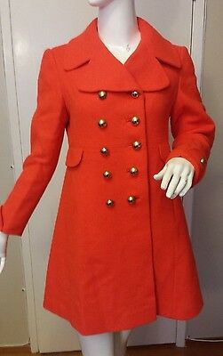Vintage, Styled by Stratton, Orange, Wool, Double-breasted, Coatdress, (Sz Sm)