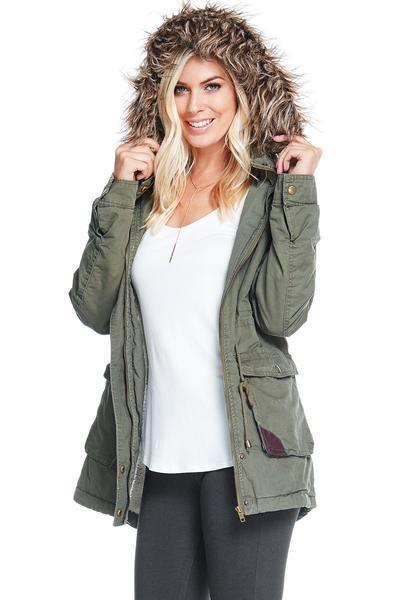 Classic Women's Warm Faux Fur Hooded Parka Jacket w Ultra Soft Fleece Lining SML