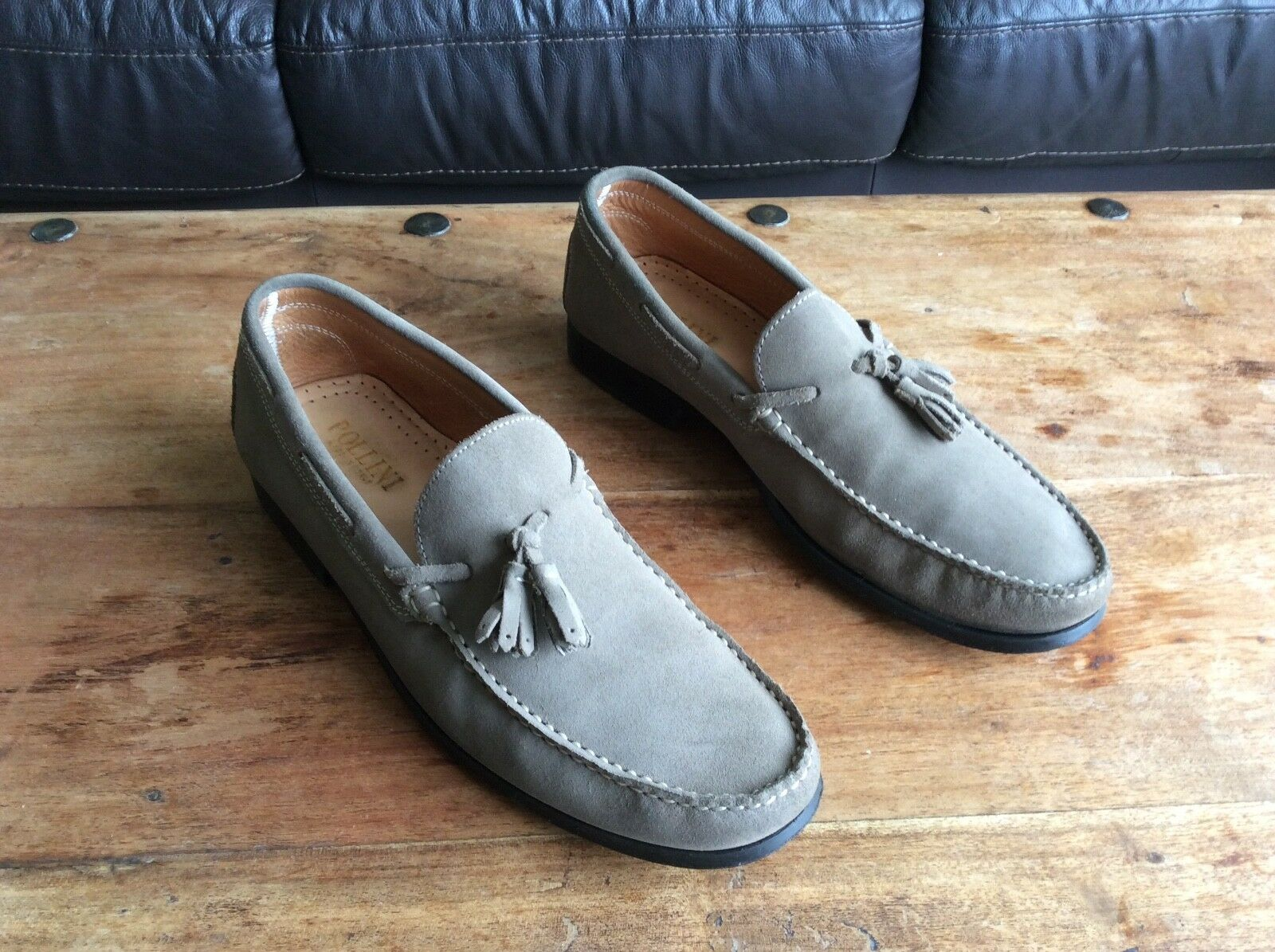 Men's, Pollini, Nubuck Leather, Tassled Loafers, Size 44.