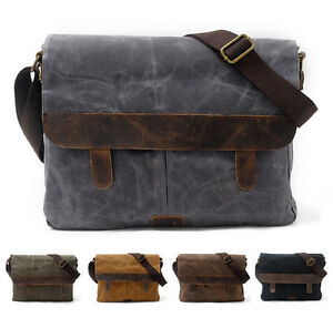 Image Is Loading Men 039 S Military Canvas With Leather Satchel