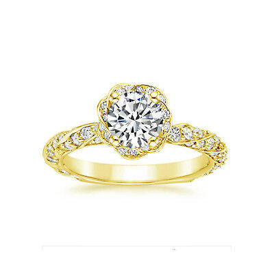 Modest 14k Yellow Gold Women's Real Moissanite Engagement & Wedding Ring Size M N J I L With The Most Up-To-Date Equipment And Techniques Other Fine Rings