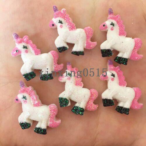 20pcs resin Gold powder Unicorn horse Flatback stone child scrapbook wedding DIY