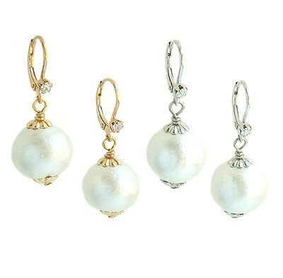 John Wind Earrings Cotton Ball Pearl Crystal Gold Silver Small Maximal Art New